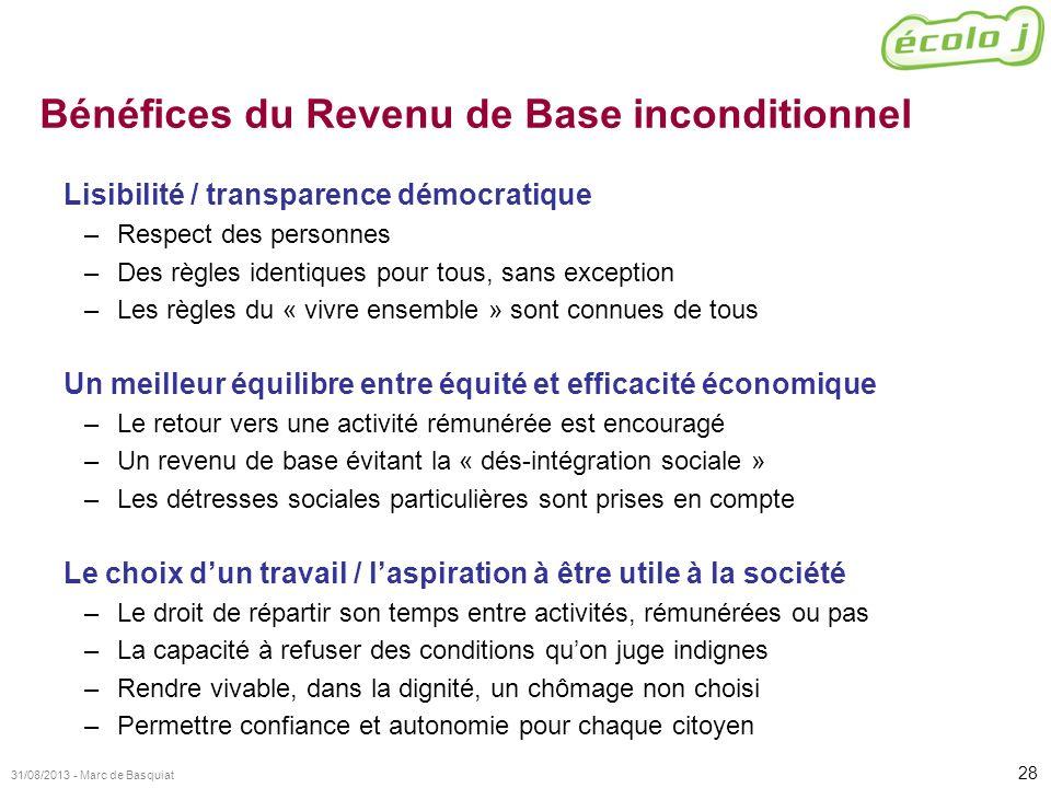 Bénéfices du Revenu de Base inconditionnel