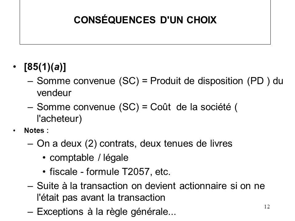 CONSÉQUENCES D UN CHOIX