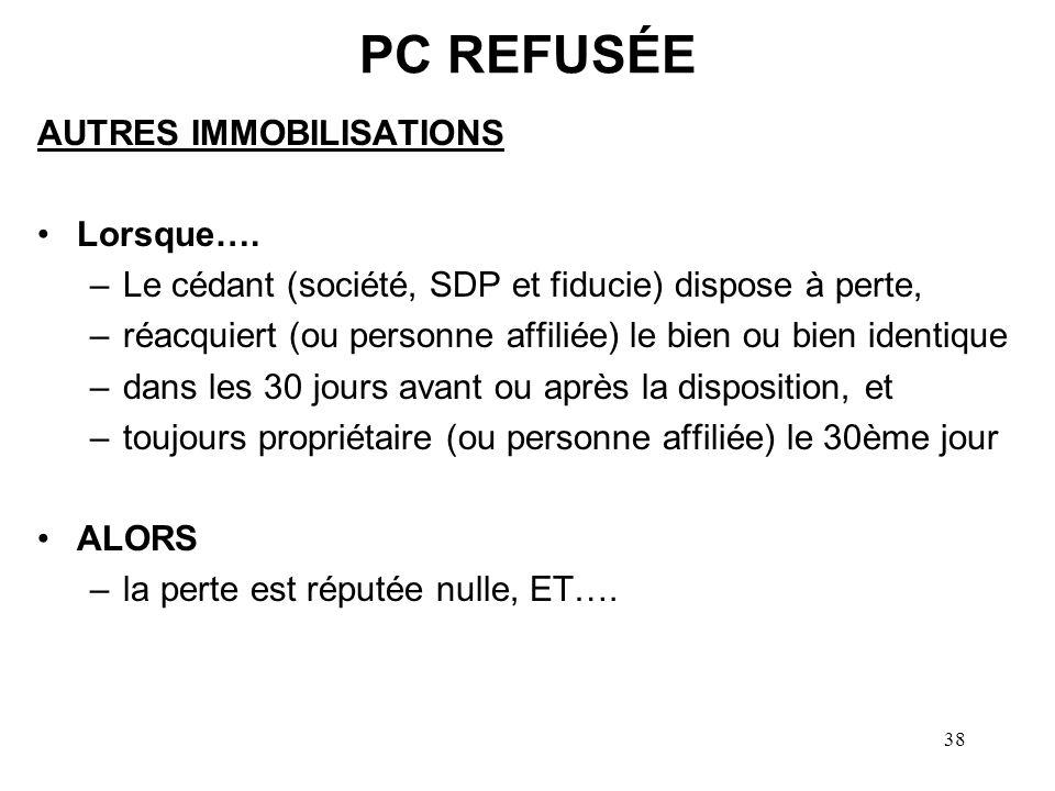 PC REFUSÉE AUTRES IMMOBILISATIONS Lorsque….