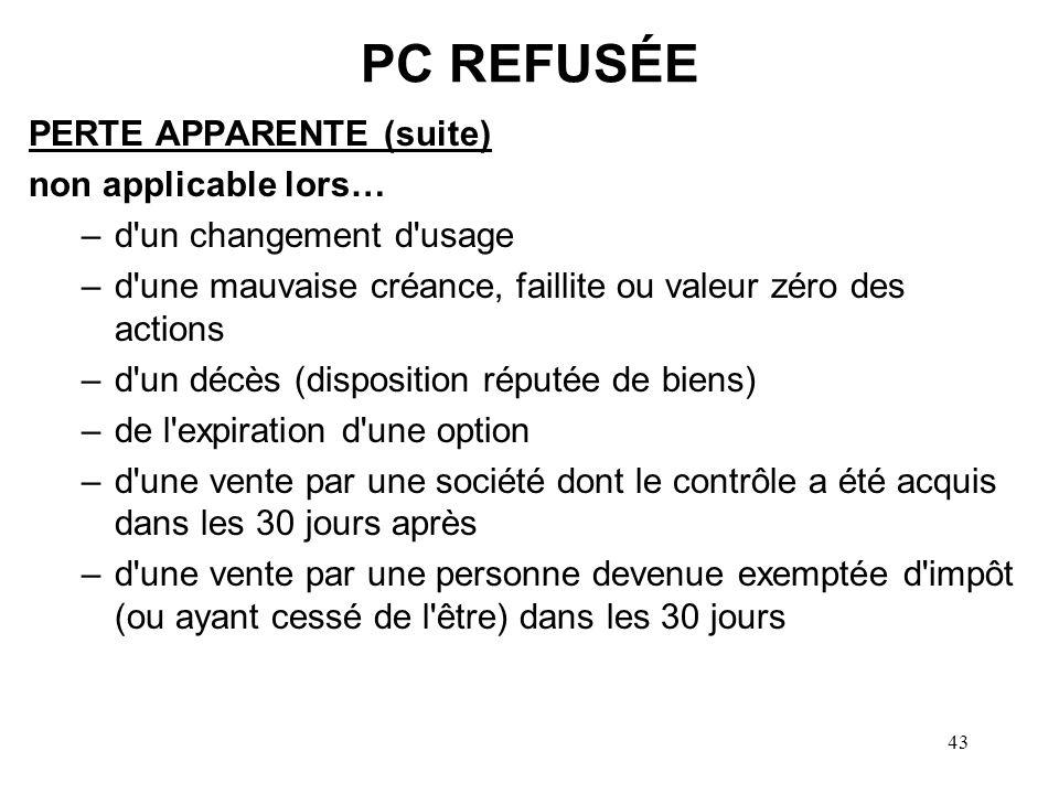 PC REFUSÉE PERTE APPARENTE (suite) non applicable lors…