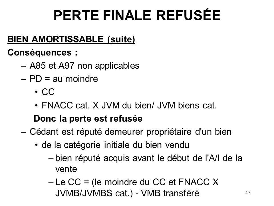 PERTE FINALE REFUSÉE BIEN AMORTISSABLE (suite) Conséquences :