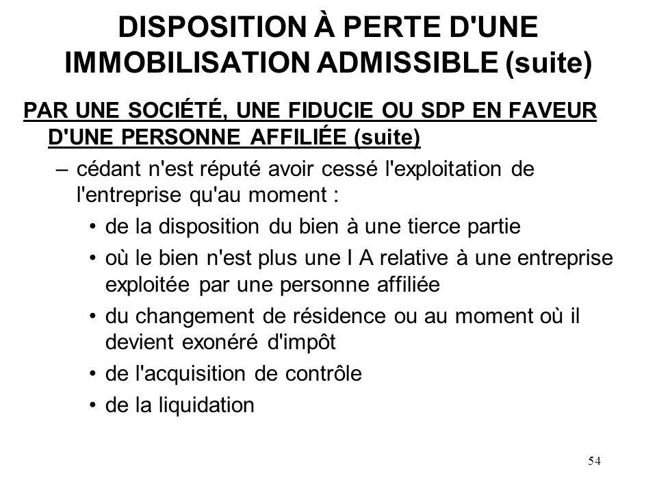 DISPOSITION À PERTE D UNE IMMOBILISATION ADMISSIBLE (suite)