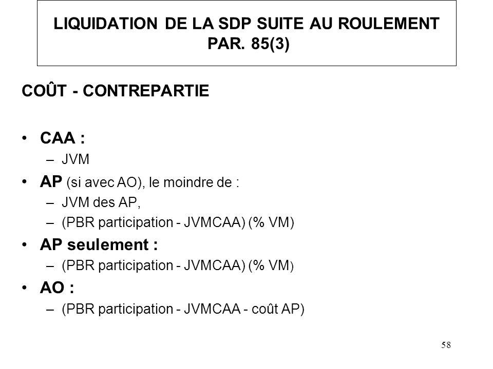 LIQUIDATION DE LA SDP SUITE AU ROULEMENT PAR. 85(3)
