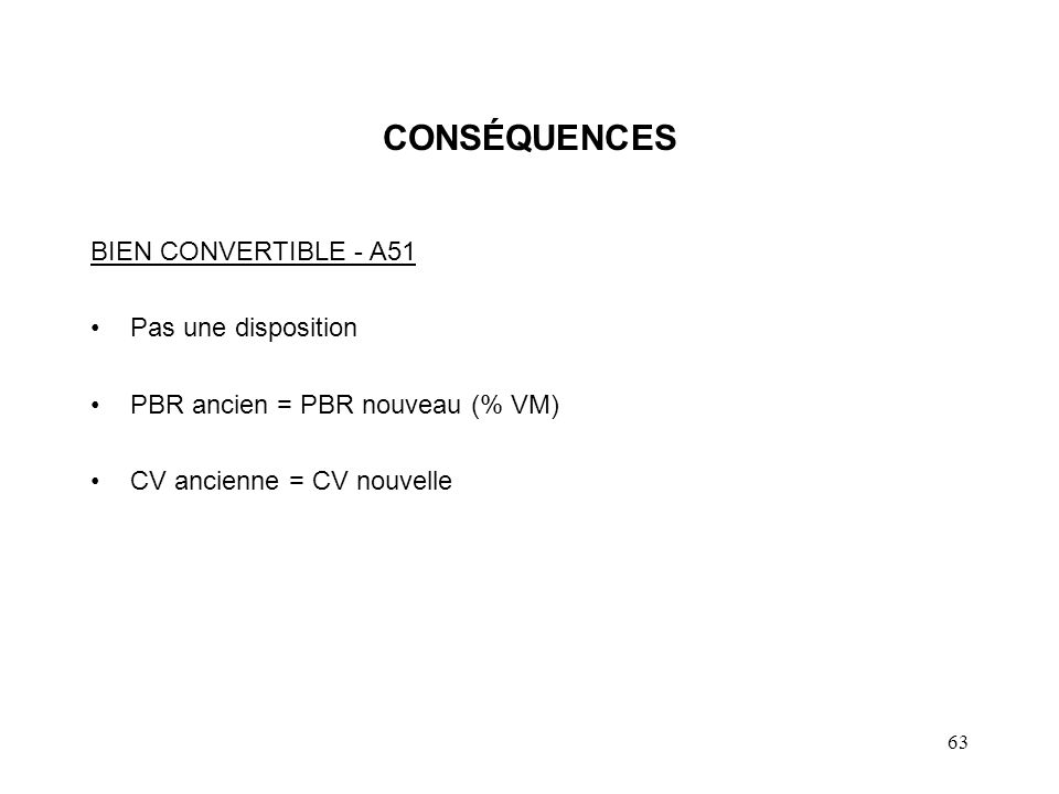 CONSÉQUENCES BIEN CONVERTIBLE - A51 Pas une disposition