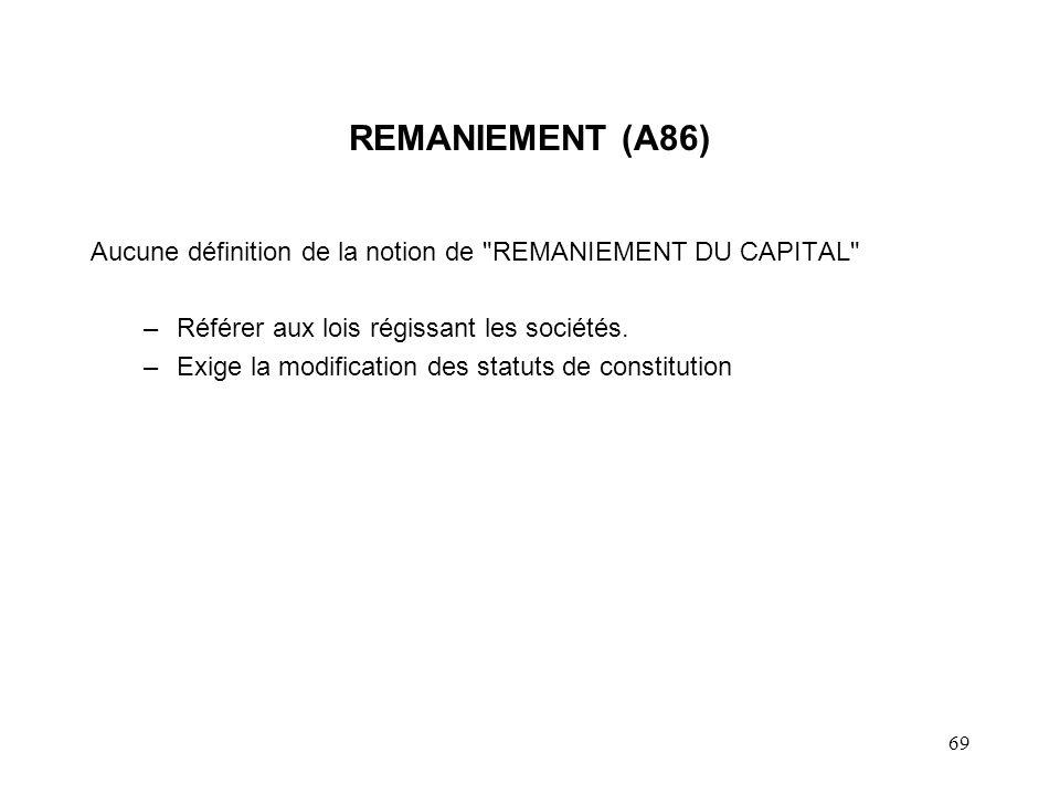 REMANIEMENT (A86) Aucune définition de la notion de REMANIEMENT DU CAPITAL Référer aux lois régissant les sociétés.