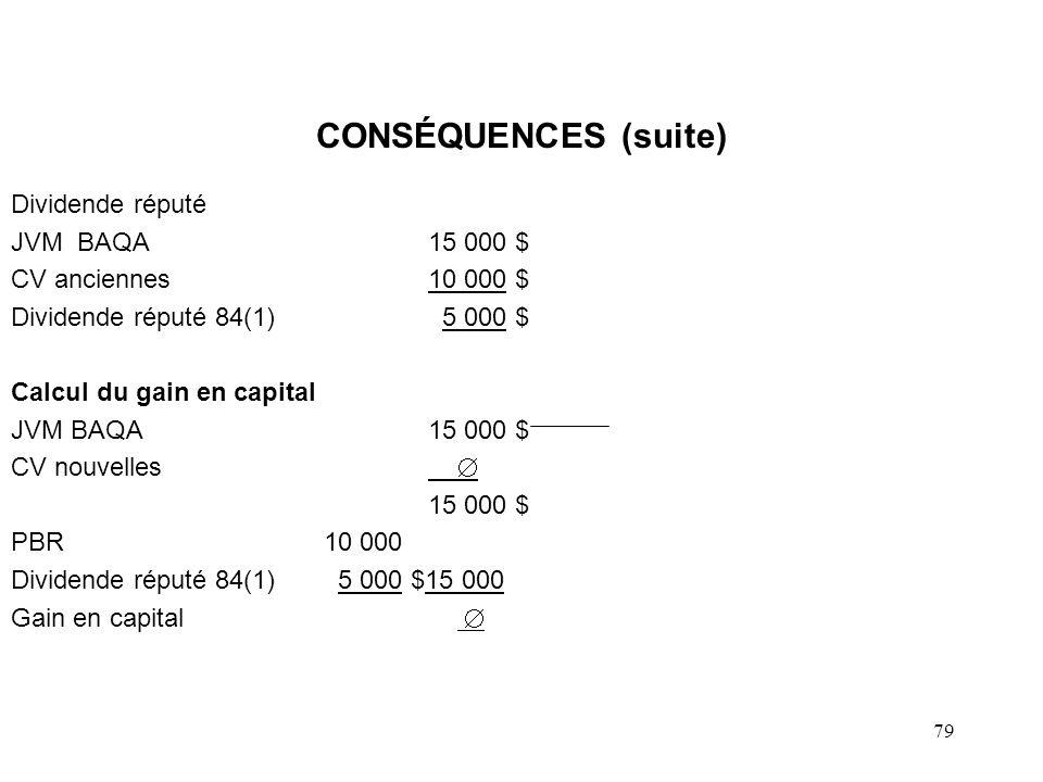 CONSÉQUENCES (suite) Dividende réputé JVM BAQA 15 000 $