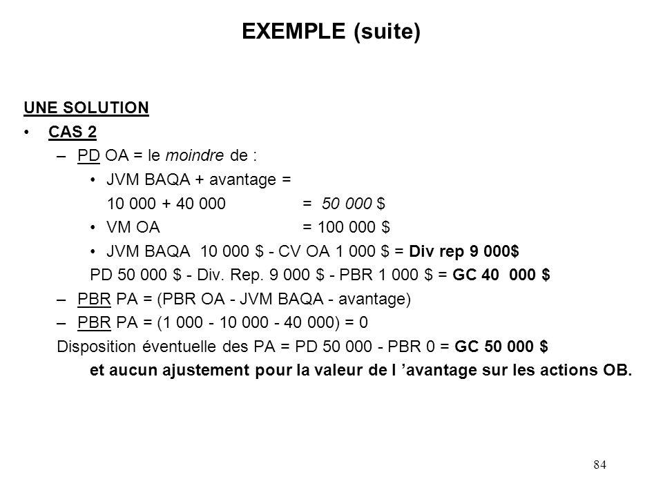 EXEMPLE (suite) UNE SOLUTION CAS 2 PD OA = le moindre de :