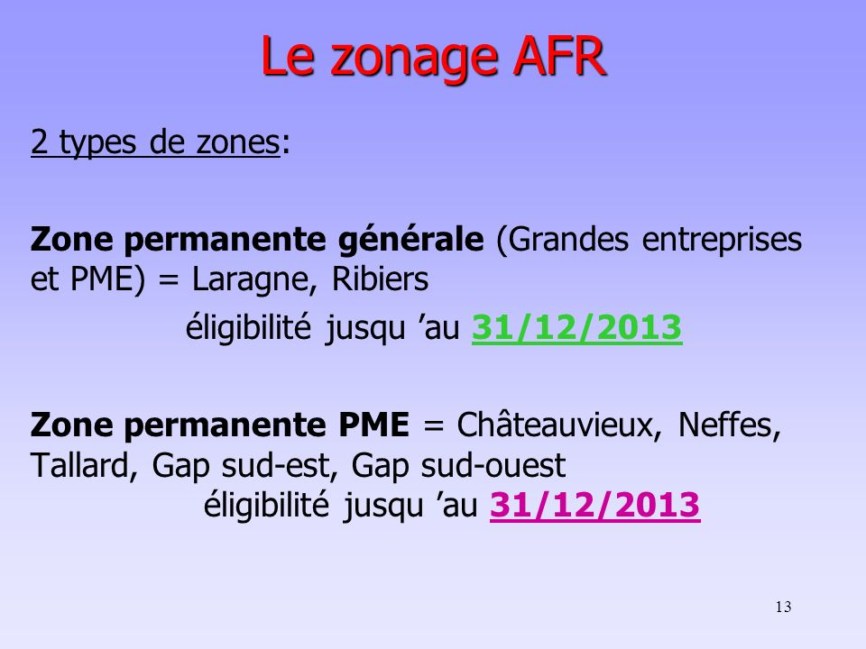 éligibilité jusqu 'au 31/12/2013