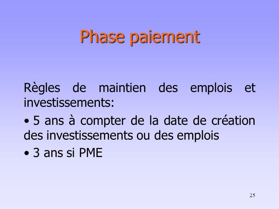 Phase paiement Règles de maintien des emplois et investissements: