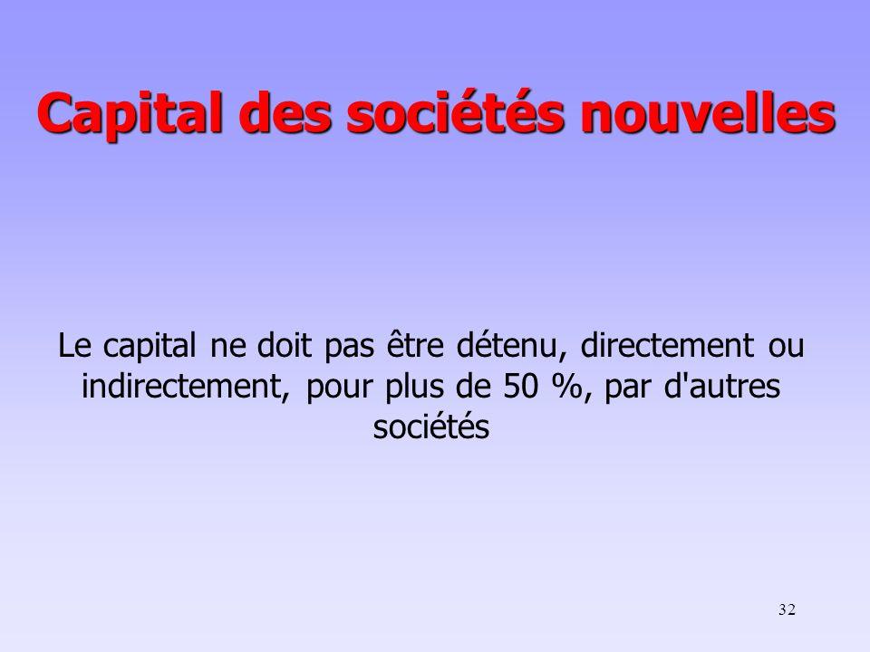Capital des sociétés nouvelles