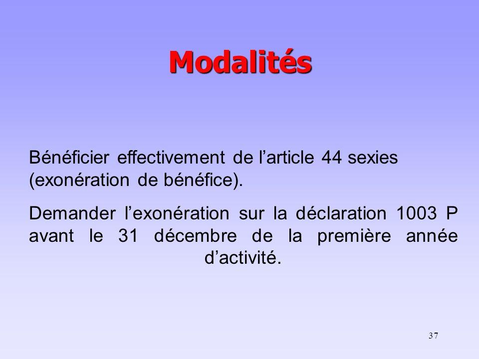 Modalités Bénéficier effectivement de l'article 44 sexies