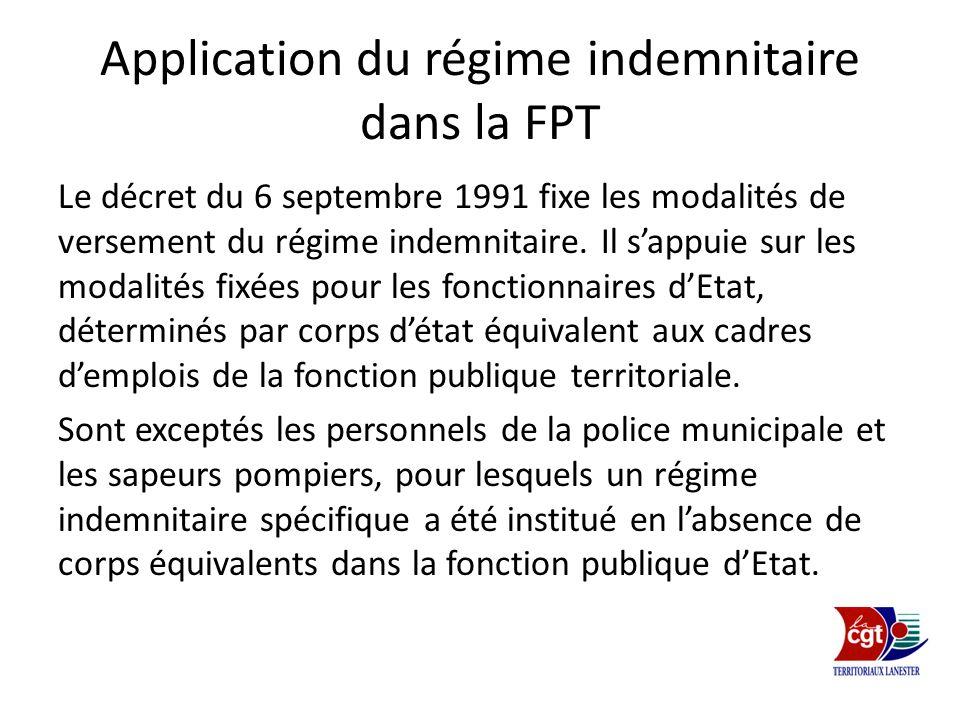 Application du régime indemnitaire dans la FPT