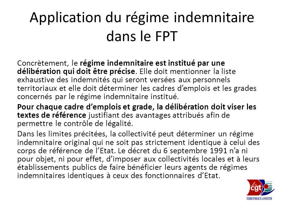 Application du régime indemnitaire dans le FPT