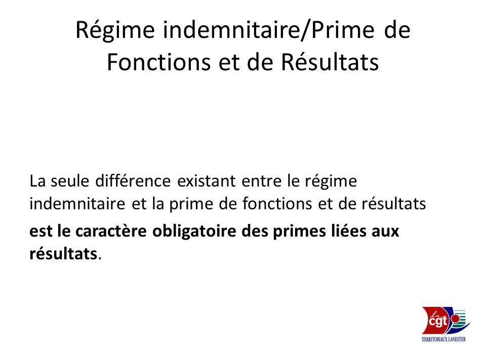 Régime indemnitaire/Prime de Fonctions et de Résultats