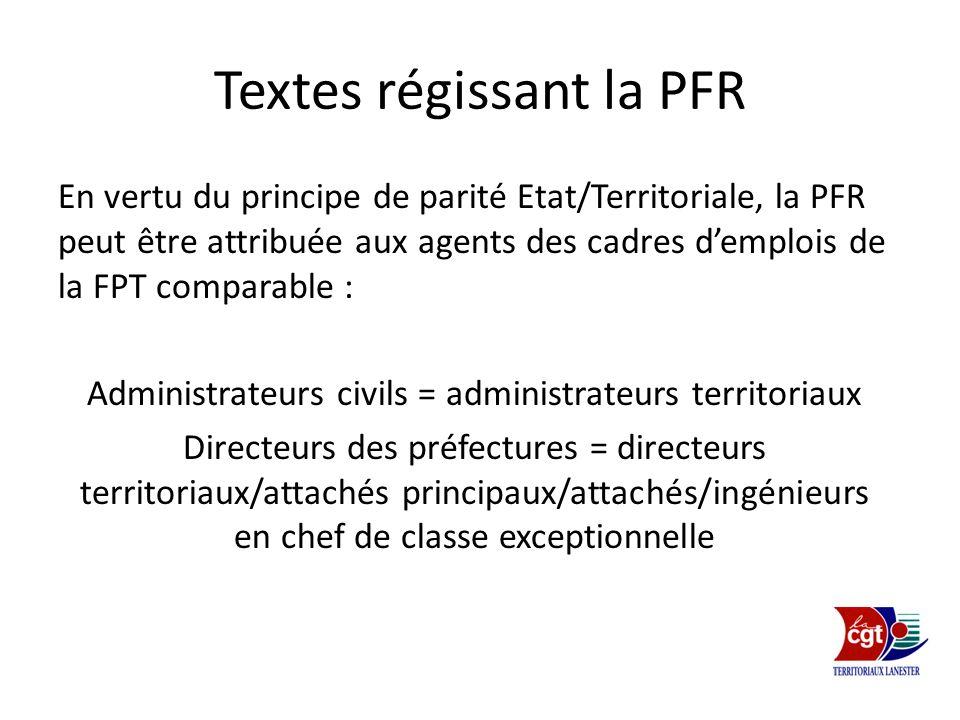 Textes régissant la PFR