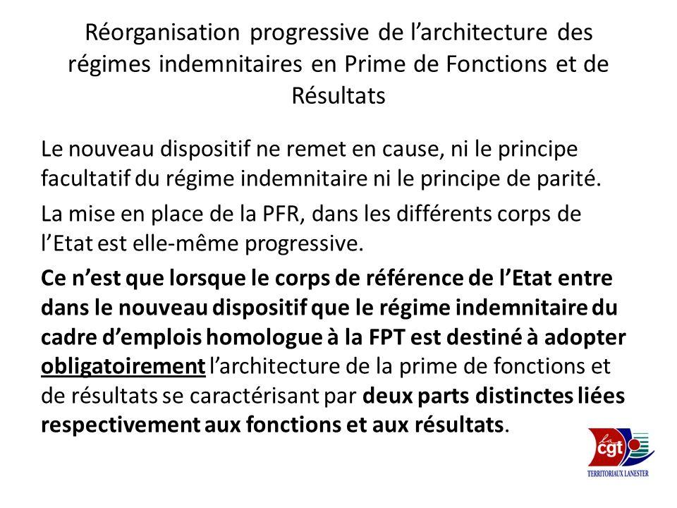 Réorganisation progressive de l'architecture des régimes indemnitaires en Prime de Fonctions et de Résultats