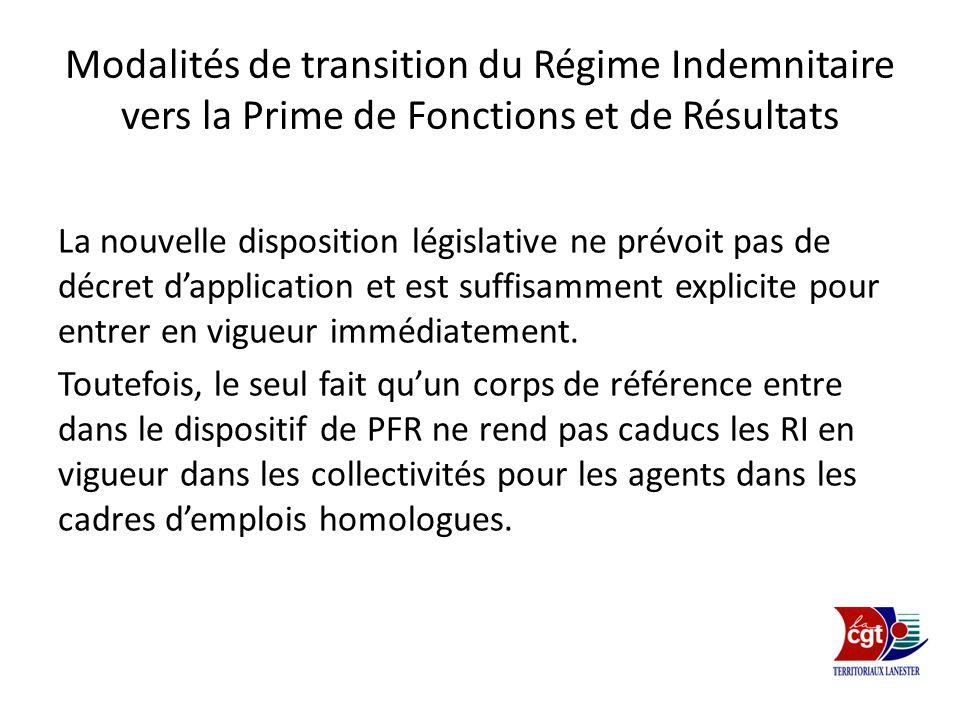 Modalités de transition du Régime Indemnitaire vers la Prime de Fonctions et de Résultats
