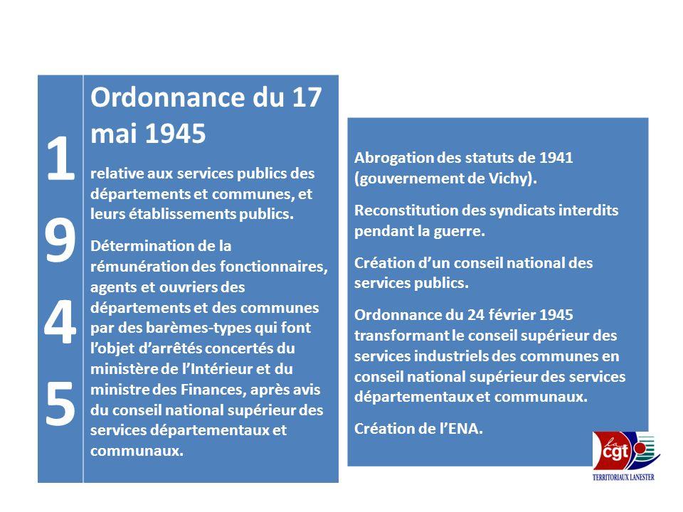 1 9. 4. 5. Ordonnance du 17 mai 1945. relative aux services publics des départements et communes, et leurs établissements publics.