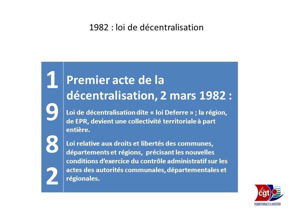 1982 : loi de décentralisation