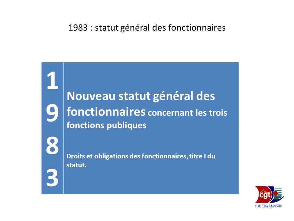 1983 : statut général des fonctionnaires