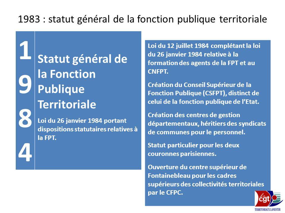 1983 : statut général de la fonction publique territoriale