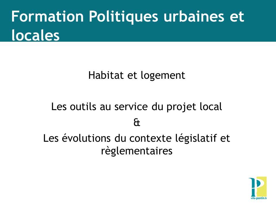 Formation Politiques urbaines et locales