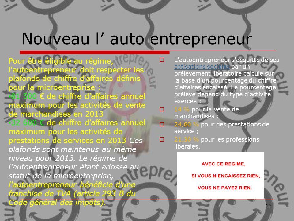 Nouveau l' auto entrepreneur