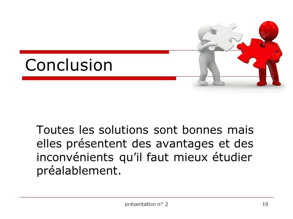 Conclusion Toutes les solutions sont bonnes mais elles présentent des avantages et des inconvénients qu'il faut mieux étudier préalablement.