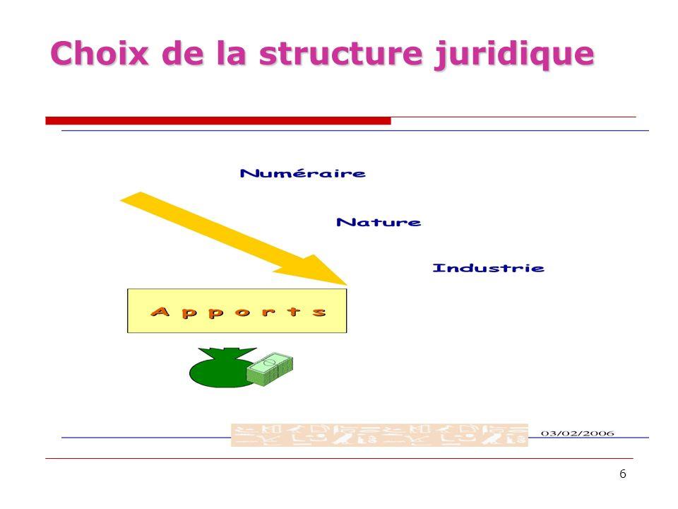 Choix de la structure juridique
