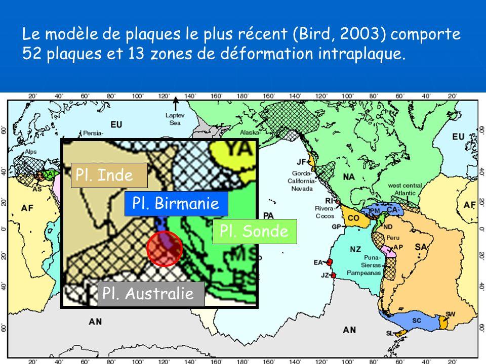 Le modèle de plaques le plus récent (Bird, 2003) comporte 52 plaques et 13 zones de déformation intraplaque.