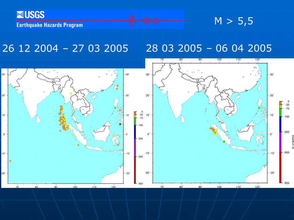 Date Range: 2004 12 26 to 2005 3 27 Number of Earthquakes: 149