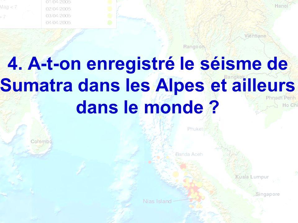 4. A-t-on enregistré le séisme de Sumatra dans les Alpes et ailleurs dans le monde