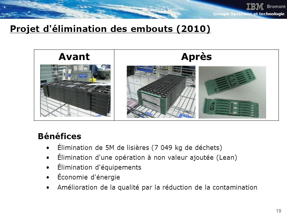 Projet d élimination des embouts (2010)