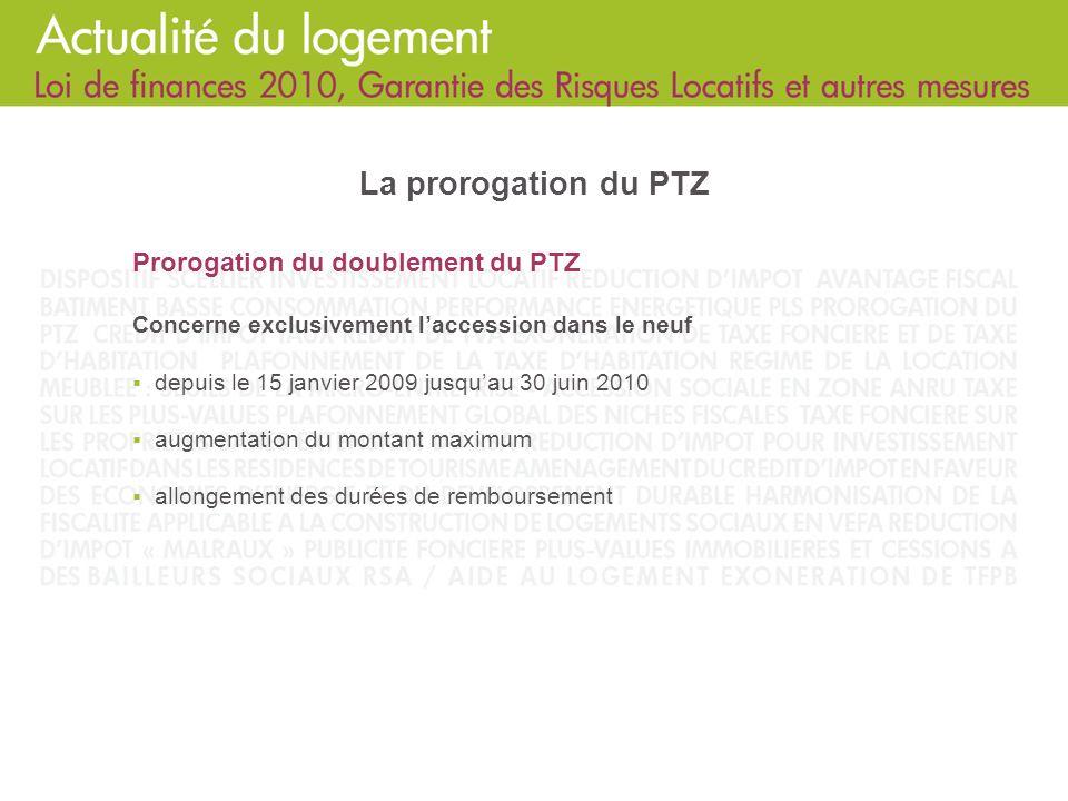 La prorogation du PTZ Prorogation du doublement du PTZ