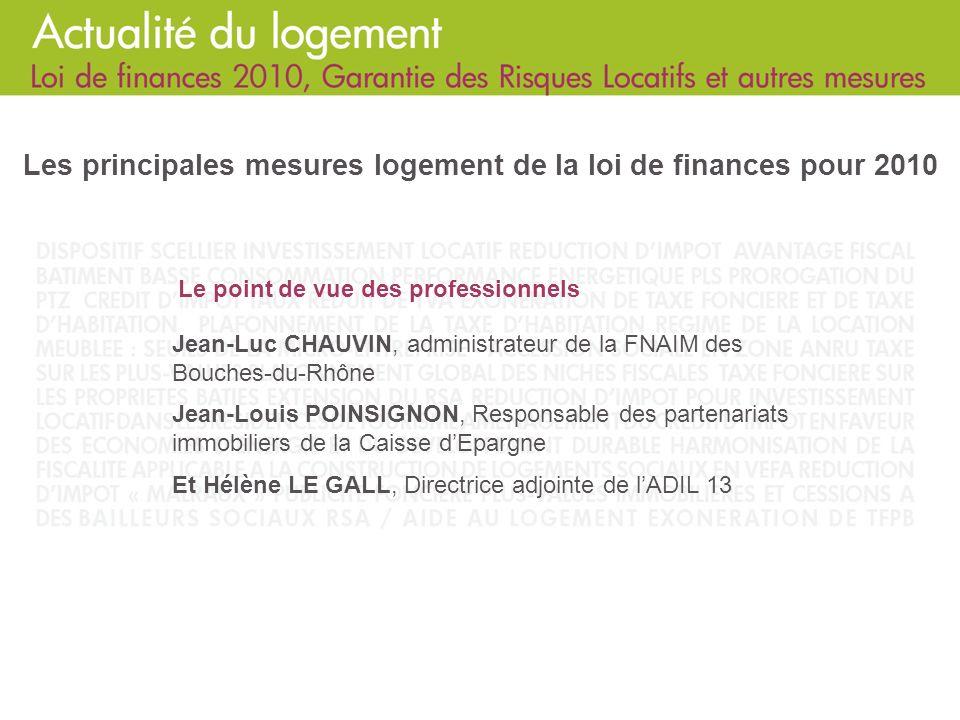 Les principales mesures logement de la loi de finances pour 2010
