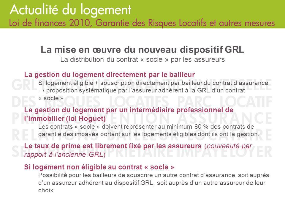 La mise en œuvre du nouveau dispositif GRL La distribution du contrat « socle » par les assureurs