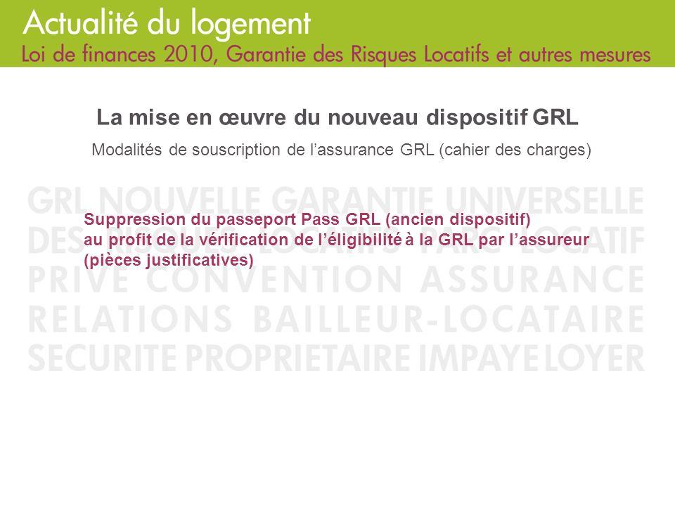 La mise en œuvre du nouveau dispositif GRL Modalités de souscription de l'assurance GRL (cahier des charges)