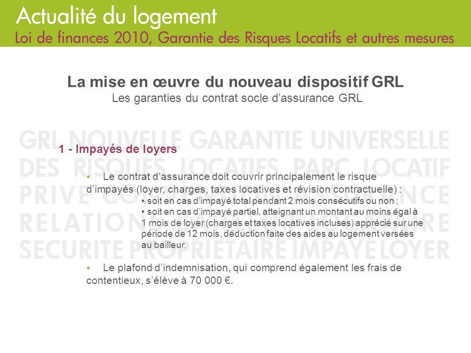 La mise en œuvre du nouveau dispositif GRL Les garanties du contrat socle d'assurance GRL
