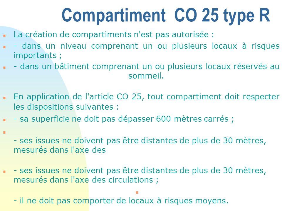 Compartiment CO 25 type R La création de compartiments n est pas autorisée :