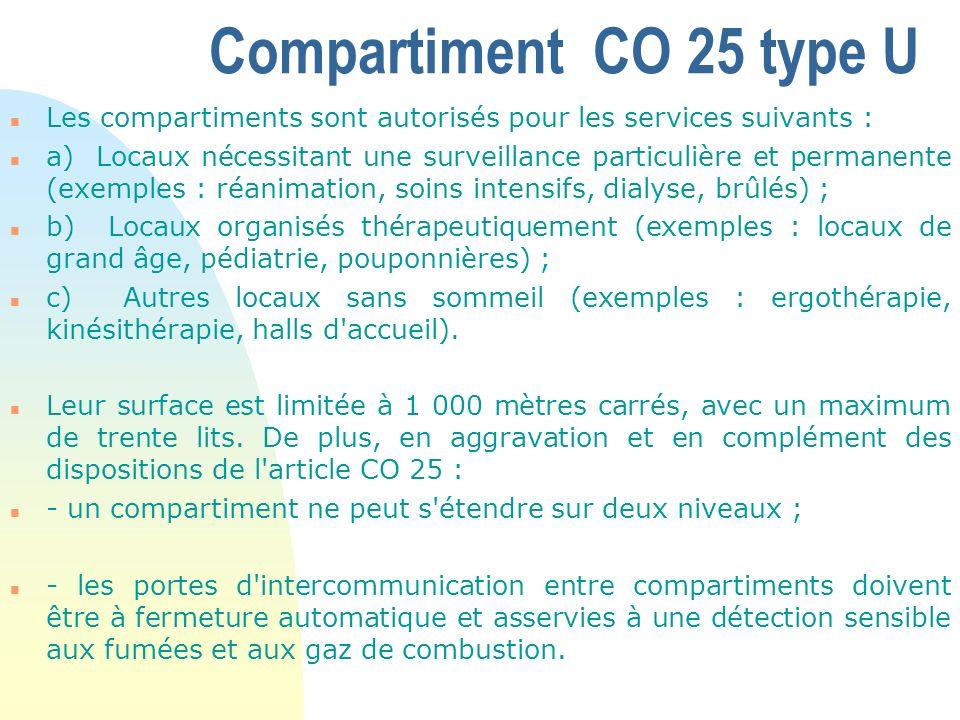 Compartiment CO 25 type U Les compartiments sont autorisés pour les services suivants :