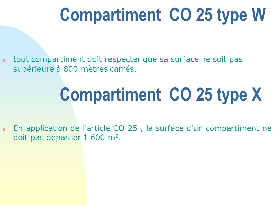 Compartiment CO 25 type W Compartiment CO 25 type X