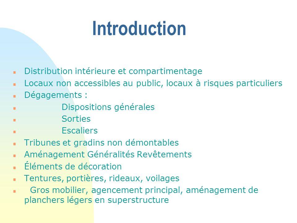 Introduction Distribution intérieure et compartimentage