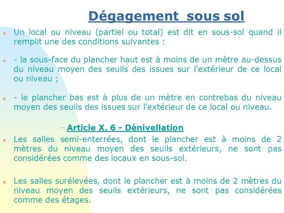 Dégagement sous sol Un local ou niveau (partiel ou total) est dit en sous-sol quand il remplit une des conditions suivantes :