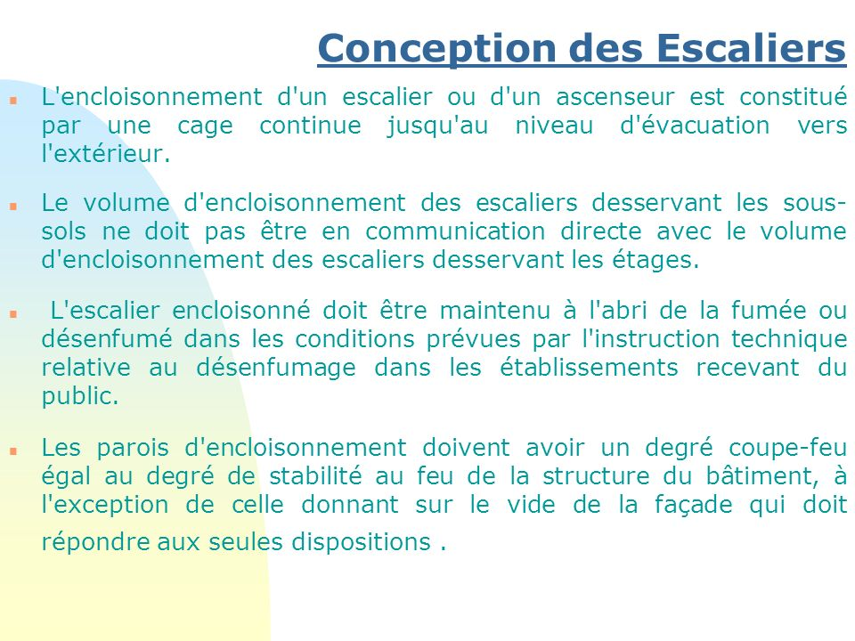 Conception des Escaliers