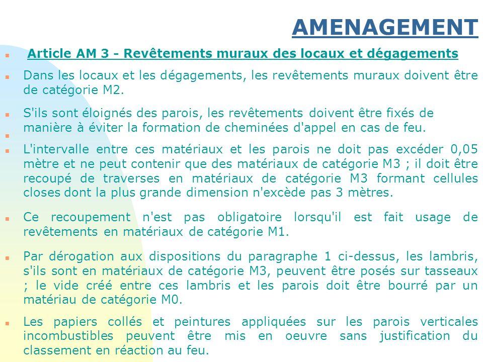 30/03/2017 AMENAGEMENT. Article AM 3 - Revêtements muraux des locaux et dégagements.