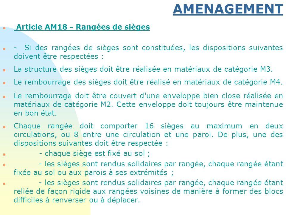 AMENAGEMENT Article AM18 - Rangées de sièges