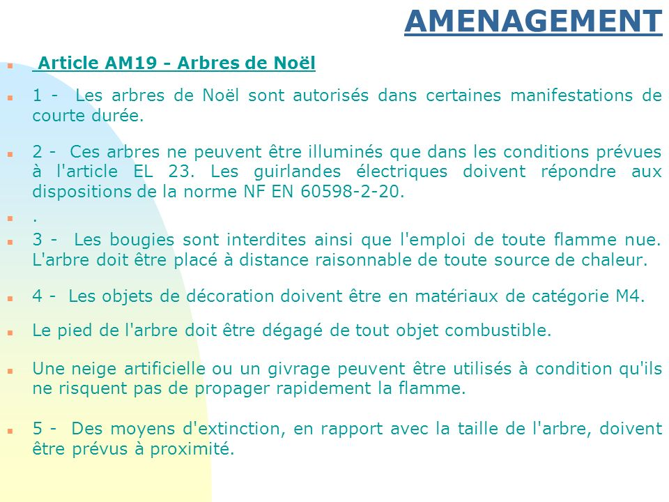 AMENAGEMENT Article AM19 - Arbres de Noël
