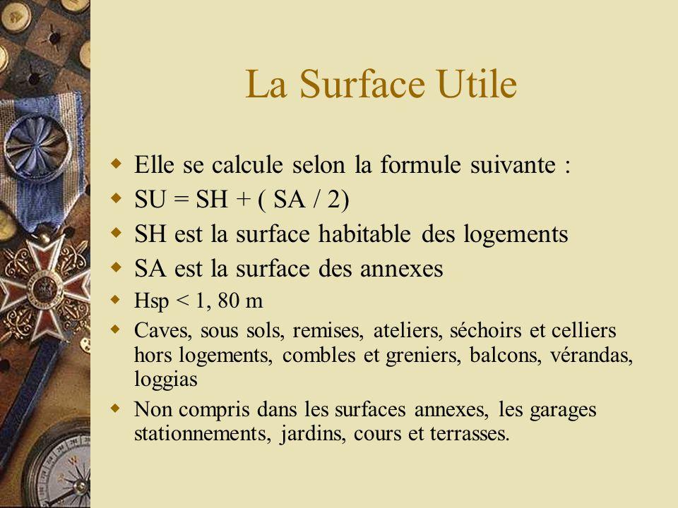 La Surface Utile Elle se calcule selon la formule suivante :