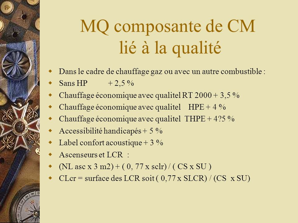 MQ composante de CM lié à la qualité