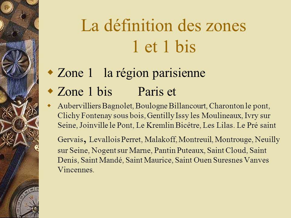 La définition des zones 1 et 1 bis